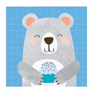 16 kleine Servietten blaues Bärchen – Bild 1