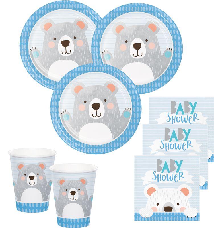 32 teile blaues b rchen party deko set zur babyparty f r 8. Black Bedroom Furniture Sets. Home Design Ideas
