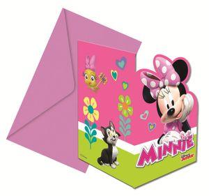 6 Einladungskarten Minnie Happy in Pink – Bild 1