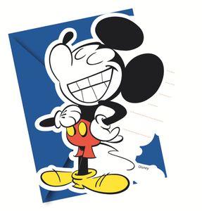 6 Einladungskarten Micky Maus Retro