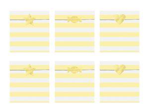 6 Papier Tütchen Gelb mit weißen Streifen
