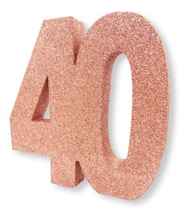 Deko Glitzer Zahl 40. Geburtstag RoseGold