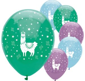 6 Luftballons bunte Lama Party – Bild 1