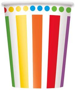 8 Papp Becher Regenbogen Mix