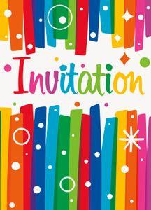 8 Einladungskarten Regenbogen Geburtstag