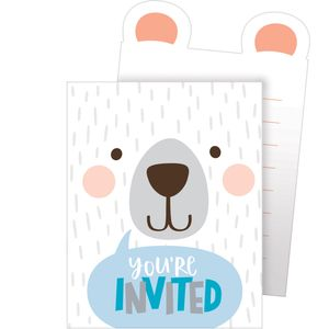 8 Einladungskarten Blaues Baby Bärchen – Bild 1