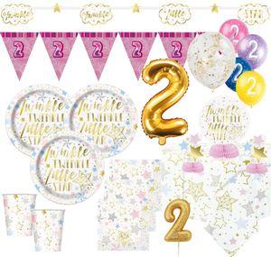 XXL 51 Teile Zweiter Geburtstag Deko Set Twinkle little Star in Rosa und Gold 8 Personen 2. Geburtstag