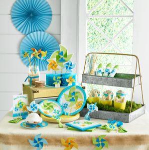 8 Teller 1. Geburtstag Windrad Blau – Bild 3