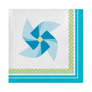 16 kleine Servietten Windrad Blau