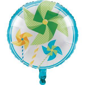 Folienballon 1. Geburtstag Windrad blau