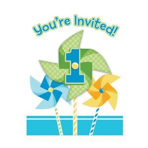 8 Einladungskarten 1. Geburtstag Windrad blau Party