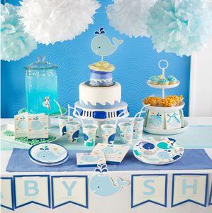16 kleine Servietten Happy Baby Wal Party Blau – Bild 3