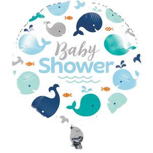 Folien Ballon Happy Baby Wal Party Blau  – Bild 1