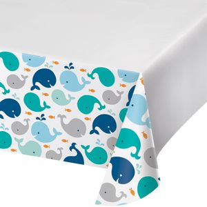 Tischdecke Happy Baby Wal Party Blau – Bild 1