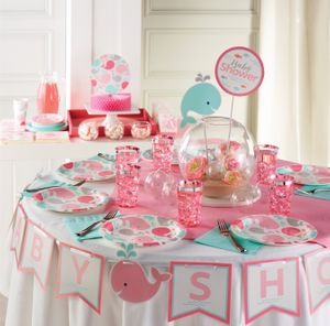 Tischaufsteller Happy Baby Wal Party Pink – Bild 3