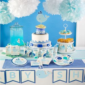 XXL Banner Happy Baby Wal Party Blau Babyshower – Bild 3