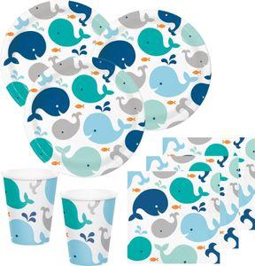 48 Teile Happy Baby Wal Party Set in Blau für 16 Personen - Ozean – Bild 1
