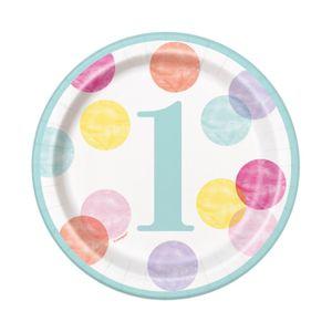 8 kleine Papp Teller 1. Geburtstag Rosa Punkte – Bild 1