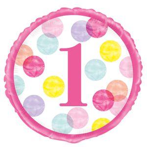 Folien Ballon 1. Geburtstag Rosa Punkte – Bild 1