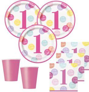 32 Teile Erster Geburtstag Rosa Punkte Party Deko Set 8 Personen – Bild 1