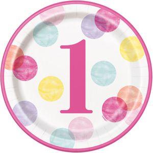 32 Teile Erster Geburtstag Rosa Punkte Party Deko Set 8 Personen – Bild 2