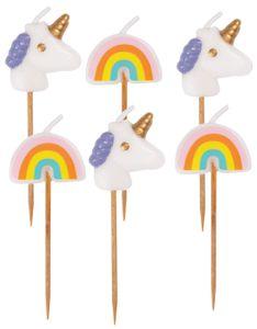 6 kleine Einhorn und Regenbogen Kuchen Kerzen