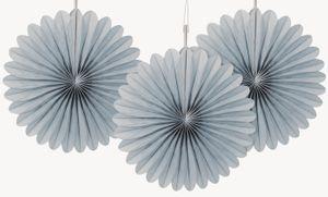 3 kleine Dekofächer in Silber Grau