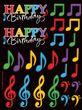 4 Sticker Bogen tanzende Noten