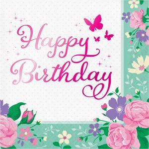 16 folierte Geburtstags Servietten Blumen Fee