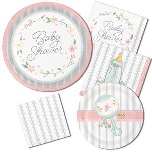 8 Papp Teller Vintage Flowers Babyshower – Bild 2