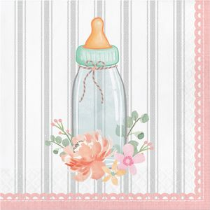 16 Servietten Vintage Flowers Babyshower – Bild 1