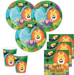 32 Teile fröhliche Dschungel Party Geburtstags Deko Set für 8 Kinder