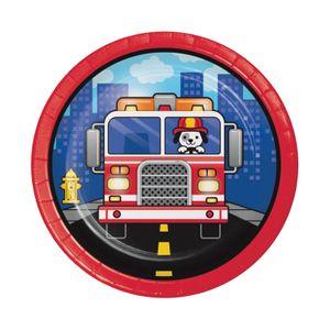 8 kleine Papp Teller Feuerwehr Alarm – Bild 1