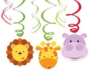 6 hängende Girlanden mit 3 Pappschildern bunte Kinder Safari – Bild 1