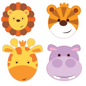 8 Masken bunte Kinder Safari – Bild 1
