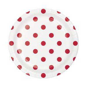 8 kleine Papp Teller Punkte und Streifen Rot