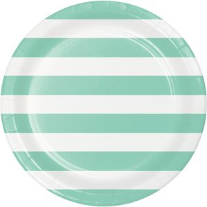 8 Papp Teller Punkte und Streifen Mint