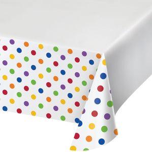 Tischdecke Regenbogen bunte Punkte und Streifen
