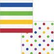 16 bunte Servietten Streifen und Punkte Regenbogen