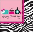 16 Servietten Pink Zebra Happy Birthday