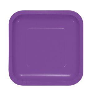 18 kleine quadratische Papp Teller Amethyst – Bild 1