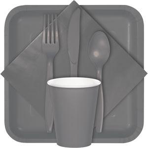 Runde Plastik Tischdecke Grau 208 cm – Bild 2
