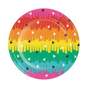8 bunte kleine Papp Teller Fiesta Fun – Bild 1