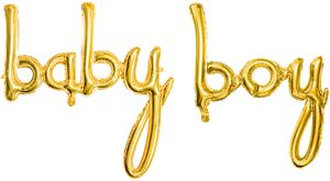 Buchstaben Folienballon Baby Boy in Gold – Bild 1