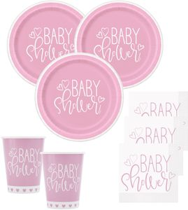 8 Papp Becher Baby Shower Herzchen in Rosa – Bild 2
