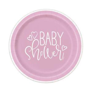 8 kleine Papp Teller Baby Shower Herzchen in Rosa – Bild 1