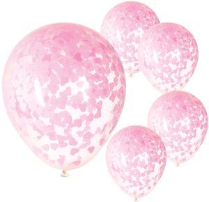 5 durchsichtige Luftballons mit Papier Konfetti Rosa Herzchen Ø 35-40 cm – Bild 1
