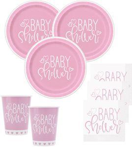 XL 39 Teile Baby Shower Herzchen in Rosa Party Deko Set für 8 Personen – Bild 2