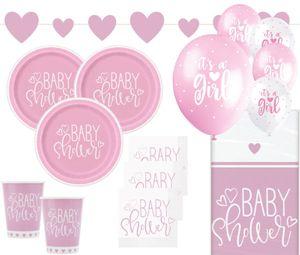 XL 39 Teile Baby Shower Herzchen in Rosa Party Deko Set für 8 Personen – Bild 1