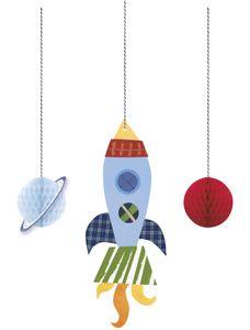 3 hängende Girlanden Weltall Outer Space